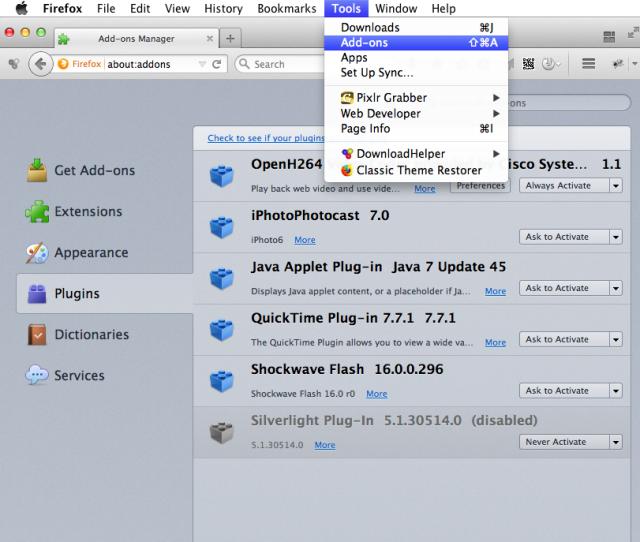 Mac-OS Firefox Flash Player deaktivieren