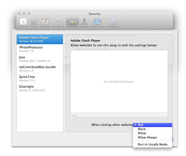Mac OS Safari Flash ausschalten
